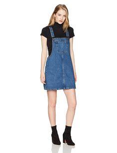 e4616053b129fa Women s Classic Adjustable Strap Denim Overall Dress - Dark Blue -  CE188YZMR0A