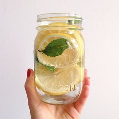 Lemon and mint ice water