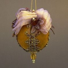 """Flights of Fancy"" by Towers and Turrets - Topaz Gold Velvet and Purple Ball Christmas Ornament with Feathers - Handmade by Towers and Turrets Ornaments"