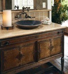 rustic, vintage dresser, converted to bath vanity