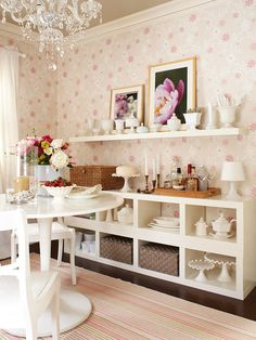 Dining Room Arranging Tips    Functional Storage    Make the most of square footage with a wall of shelves that provide storage for the dining room's alternative uses -- office supplies, games, and crafts -- or dining extras such as china, linens, and barware.