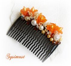 Orange comb Wedding hair accessory Orange hair by Sysimust on Etsy, $15.00