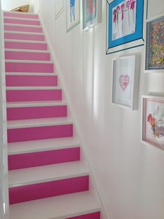 Seen many painted stairs, designed a few myself but this pink and white version in an all white hallway looks so pretty and fresh, its worth emulating. Painted Staircases, Painted Stairs, Wood Stairs, Basement Stairs, Painted Floors, White Hallway, White Staircase, Bachelorette Pad, House Stairs