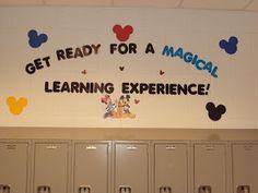 Creative Classroom Themes: Disney Parks Classroom Theme maybe Making magical memories? Mickey Mouse Classroom, Disney Classroom, Classroom Board, Classroom Setting, Classroom Setup, Classroom Design, Kindergarten Classroom, Future Classroom, Classroom Organization
