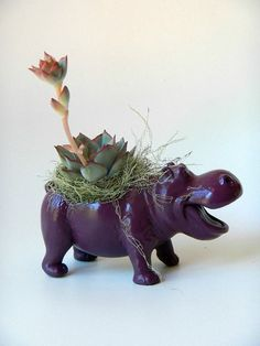 Plum Purple Hippopotamus Planter  Mini Modern Art by CoastalMoss, $20.00