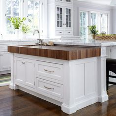 """Island idea- the marble portion is 5' 11"""" x 9', the lower wood portion is about 30"""" x 6' A new home in the New York Suburbs"""