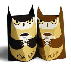 Wise Beans (Concept) on Packaging of the World - Creative Package Design GalleryDesigner: Fiona Huang Cool Packaging, Beverage Packaging, Coffee Packaging, Coffee Branding, Brand Packaging, Packaging Ideas, Wine Design, Box Design, Owl Food