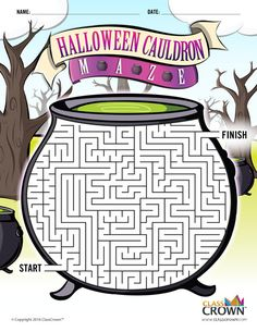 Halloween Maze - Cauldron Maze - Halloween Puzzles - B&W Print Ready Halloween Puzzles, Fröhliches Halloween, Halloween Worksheets, Halloween Crafts For Kids, Halloween Coloring, Halloween Activities, Holiday Activities, Diy Halloween Costumes, Holidays Halloween