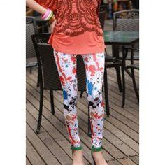 $4.48 Morden Style Elastic Slimming Colorful Splash-ink Cotton Blend Leggings For Women