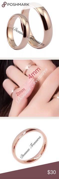 📓Rose Gold Titanium Band Ring This simple band is made of Rose Gold Titanium. All bands are 4mm Except the 3.5 which is a 2 mm & are smooth rings as seen in the first picture. It'll never turn & is hypoallergenic. Jewelry Rings