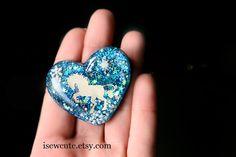 Glitter Heart Pin Resin Jewellery Heart Pin Brooch Big by isewcute