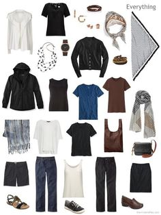 How to Pack a Foolproof Travel Wardrobe, All in Neutrals a Whatever's Clean travel capsule wardrobe for warm weather in black, brown, denim blue and ivory Capsule Wardrobe, Capsule Outfits, Travel Wardrobe, Fall Wardrobe, Work Wardrobe, Travel Capsule, Travel Wear, Travel Fashion, Travel Outfits