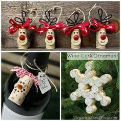 Wine Corks - I browsed Pinterest and Etsy today to find the best wine cork crafts for Christmas to make! Click on the links to either get a tutorial or a place to buy them. Wine Cork Snowflake Ornaments Wine Cork Christmas Tree Card Holder Standing Wine Cork Reindeer Wine Cork Christmas Wreath Wine Cork Ornament (source unknown) …
