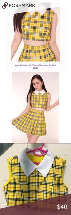 Halloween Sale❗️ Clueless Yellow Tartan Crop Top JUST THE TOP, SKIRT NOT INCLUDED❗️Now that we've got that cleared up... This literally took 4 months to get to my house. Sadly it doesn't fit me. I realized I purchased the wrong size. The measurements are Small - Bust 86cm. Length 37cm. No trades! The price is firm. It is unused and in NWOT condition. Glitters For Dinner Tops