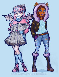 Snow Day Rochelle and Clawdeen by Azure-and-Copper