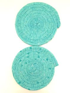 Aqua teal coaster, set of 4 coasters, fabric coasters, fabric coiled coasters, coaster set, drink coasters, coiled coasters, coffee coasters by KathyTDesigns on Etsy Coffee Coasters, Tea Coaster, Drink Coasters, Kitchen Tools, Kitchen Gadgets, Wine Gift Baskets, Dining Room, Dining Table, Fabric Coasters