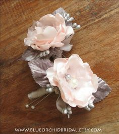 Pink & Grey Boutonniere Rose Boutonniere by BlueOrchidBridal