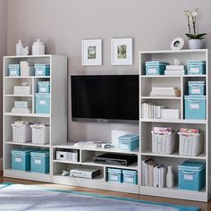 inspiration > Stack Me Up Media Storage Superset $1,569 Special $1,299 - Use prefab bookcases, add glass doors and slide-out shelves for media boxes | PBteen