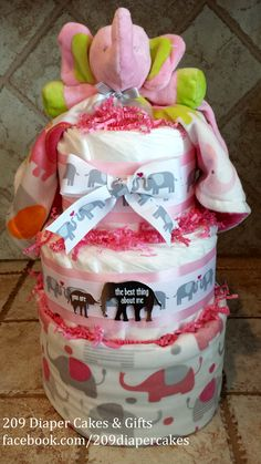 Pink & Gray Baby Girl Elephant Diaper Cake with blanket by 209 Diaper Cakes & Gifts - facebook.com/209diapercakes