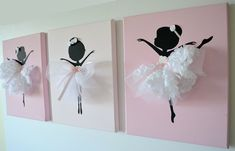Set of three dancing von FlorasShop Diy And Crafts, Crafts For Kids, Arts And Crafts, Tulle Decorations, Art Mural, Little Girl Rooms, Wall Art Sets, Diy Art, Canvas Wall Art