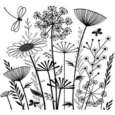 Flower Embroidery Pattern Love this crafty individuals stamp! On the site it shows this stamp pattern embroidered. Vintage Collage, Embroidery Patterns, Hand Embroidery, Flower Embroidery, Embroidered Flowers, Embroidery Stitches, Plant Drawing, Drawing Flowers, Flower Drawings