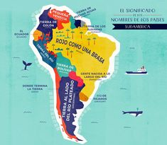 The Literal Translation of Country Names in South America Egyptian Names, Little Land, Persian Language, Word Map, Geography Lessons, Unusual Words, Country Names, German Words, Venice