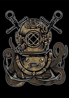 'Under Water Octopus ' Photographic Print by JKWArtwork Kraken Tattoo, Diving Helmet, Bunny Art, Deep Sea, Betty Boop, Photographic Prints, Wall Prints, Octopus, Design Inspiration