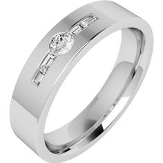 An eye catching Baguette & Round Brilliant Cut diamond set mens ring in 18ct white gold