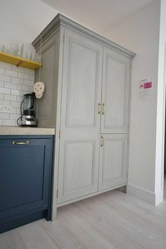 Bespoke kitchen larder and fridge housing hand painted with Annie Sloane chalk paint House Design, Concrete Worktop Kitchen, Kitchen Larder, Handcrafted Interior, Farrow And Ball Paint, House, Kitchen, Home Decor, Bespoke Kitchens