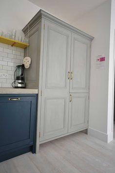 Bespoke kitchen larder and fridge housing hand painted with Annie Sloane chalk paint Kitchen Larder, Kitchen Cabinets, Concrete Worktop Kitchen, Farrow And Ball Paint, Bespoke Kitchens, Polished Concrete, Annie Sloan Chalk Paint, Work Tops