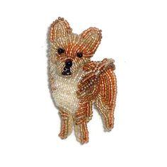 Petit CHIHUAHUA perles Keepsake chien broche pendentif Art bijoux / prêt à expédier / nous libérer d