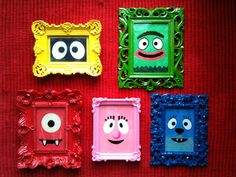Huge Yo Gabba Gabba fans in this house... and this totally makes me wanna grab some really cheesy frames and paint them and put YGG faces in them.