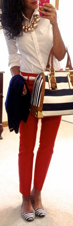 red, white, & navy stripes.