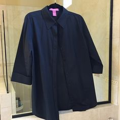 Black button down shirt Black 3/4 length sleeved blouse by Woman Within. It is a M but note that their size M corresponds to a size 14/16.  Never won. Woman Within Tops Button Down Shirts