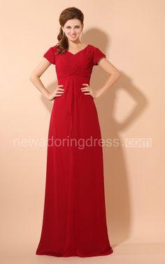 Chiffon Pleated Maxi V-Neck Dress With Crisscross Ruching