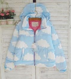 Korean young girl cute blue sky and white cloud style short size hooded cotton zipper winter overcoat size M or L free shipping