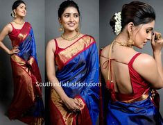 Vani Bhojan in a traditional saree at Zee Cine Awards 2020 Silk Saree Blouse Designs, Fancy Blouse Designs, Red Blouse Saree, Sari Dress, Blue Saree, Silk Sarees, Wedding Silk Saree, Bridal Sarees, Outfits