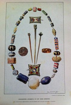 Watercolour of finds from early medieval Dorestad, Netherlands. Unknown date.