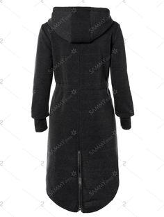 Hooded Coat with Pockets in Black | Sammydress.com