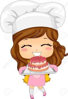 20040500-Illustration-of-Cute-Little-Girl-Baking-a-Cake-Stock-Illustration-chef-cartoon-girl.jpg (898×1300)