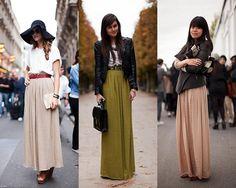Look com saia longa para outono inverno