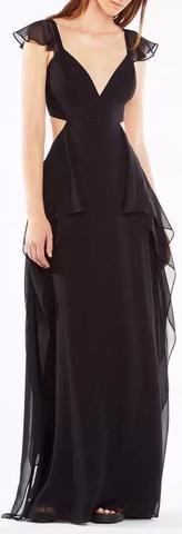 Long Black Chiffon Gown