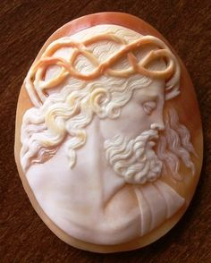 Antique Cameos: old victorian, shell, coral and hardstone cameos, Jesus