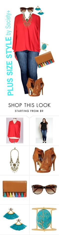 """""""Plus Size Bright Top - Society+"""" by iamsocietyplus on Polyvore featuring BaubleBar, Steve Madden, Rebecca Minkoff, H&M, Stella & Dot, Nest, plussize, plussizefashion, societyplus and iamsocietyplus"""