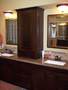 custom double vanity with center tower | double vanity, vanities