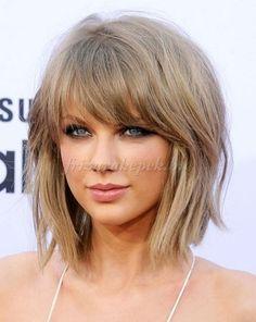 félhosszú+frizurák+egyenes+hajból+-+Taylor+Swift+félhosszú+bubifrizura+frufruval
