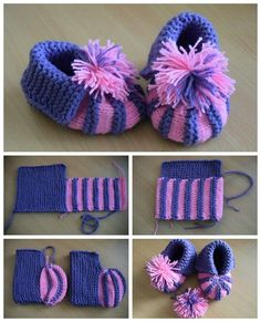 Buciki Dla Siostaka / Babys Shoes, Bab B - Diy Crafts Baby Booties Knitting Pattern, Crochet Baby Boots, Knit Baby Booties, Booties Crochet, Crochet Slippers, Baby Knitting Patterns, Crochet Patterns, Diy Crafts Knitting, Diy Crafts Crochet