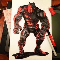 Black Panther full body commission by Joverine  http://joverine.tumblr.com/post/47305221102/black-panther-full-body-commission-red-black