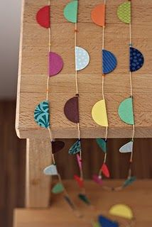 could get different scrapbook paper in your colors, fold circle in half around twine and glue... could be easy?