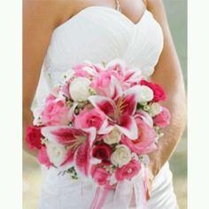 Stargazer lily bouquet Bouquet Bride, Lily Bouquet Wedding, Lily Wedding, White Wedding Flowers, Pink Bouquet, Dream Wedding, Bouquet Flowers, Orange Wedding, Stargazer Lily Bouquet